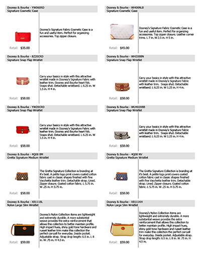 Dooney & Bourke Core List